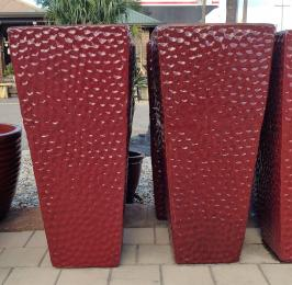 Red Dimpled Tall Entrance Pot Glazed TTP3752