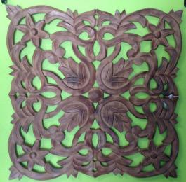 Carved Wood Wall Art Burnt Brown