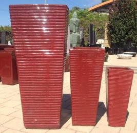 Red Ribbed Entrance Pot TTP3106
