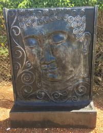 Buddha Face Silver Black WHN002